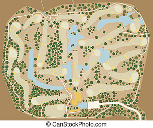 Golf course map - Editable vector map of a generic golf...