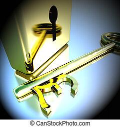 Pound Key With Gold Padlock Showing Banking Savings 3d Rendering