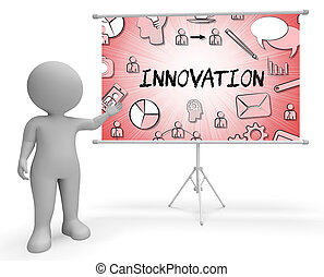Innovation Icons Shows Reorganization Transformation 3d...