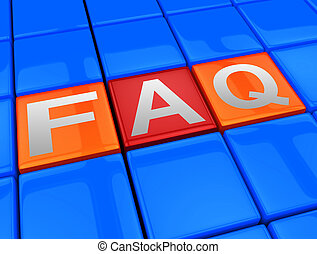 Faq Blocks Means Frequently Asked Questions 3d Illustration...