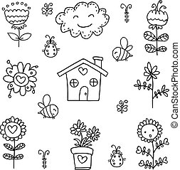 Vector art of spring theme doodles