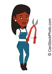 Farmer with pruner vector illustration. - African-american...