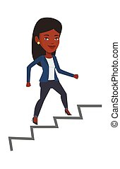 Business woman running up the career ladder.