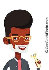 Man shaving his face vector illustration. - Man shaving his...