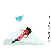 Businessman lying on cloud vector illustration. - African...