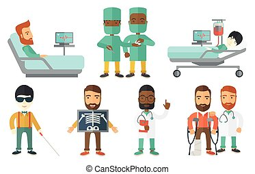 Vector set of doctor characters and patients. - Patient...