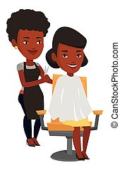 Hairdresser making haircut to young woman. - African...