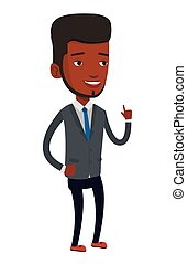 Smiling businessman pointing with his forefinger. -...