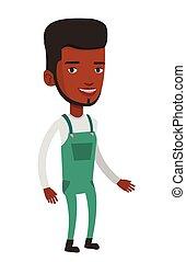 Friendly african-american farmer man. - Smiling cheerful...