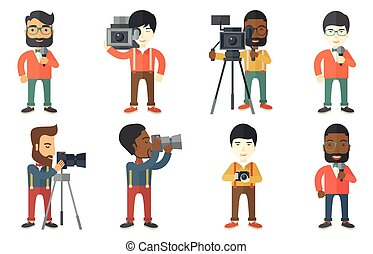 Vector set of media people characters. - Cheerful TV...