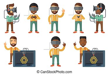 Vector set of people using modern technologies. - Man...