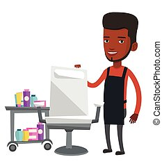 Barber at workplace in barbershop. - African-american barber...