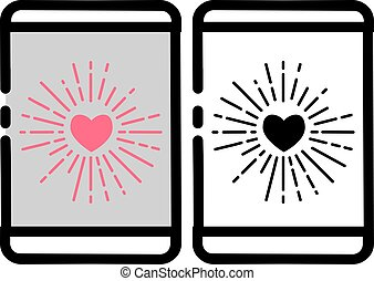 Love Burst Handphone Icon - Vector illustration for...