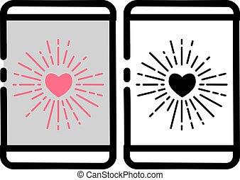 Love Burst Handphone Icon - Vector illustration for...