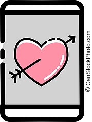 Love Crush Handphone Icon - Vector illustration for...