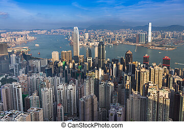 Aerial view, Hong Kong city downtown over Victoria Harbour