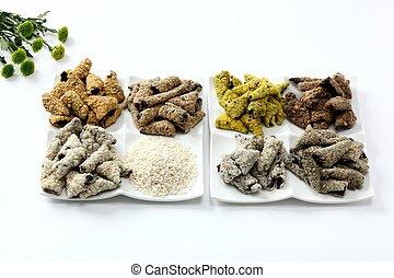 Korean kim glutinous rice snack on plate on white background