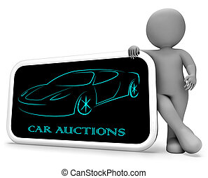 Car Auctions Means Bidding On Vehicles 3d Rendering - Car...