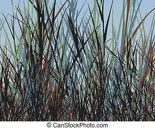Grass jungle - Editable vector design of tall rough grass