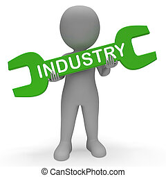 Industry Spanner Means Industrial Production 3d Rendering -...