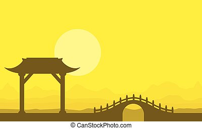 Landscape of bridge on yellow backgrounds