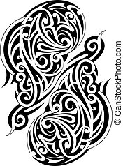 Maori style tattoo - Symmetry Maori tattoo shape isolated on...
