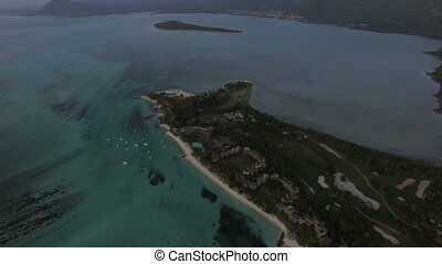 Aerial panorama of ocean and Mauritius Island - Aerial...
