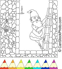 gnome - coloring page, gnome comes down the stairs into the...