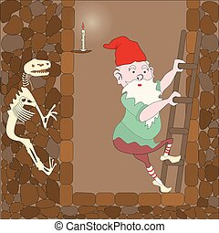 gnome comes down the stairs into the cave, the skeleton was...