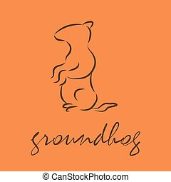 groundhog - silhouette of a groundhog, template vector logo...