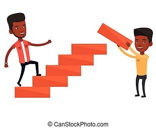 Businessman running upstairs vector illustration. - Man runs...