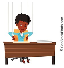 Businesswoman marionette on ropes working. - Businesswoman...