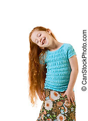 Funny redhead elementary age girl with long hair
