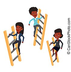 Business people climbing to success. - African-american...