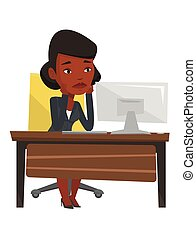Exhausted sad employee working in office. - African-american...