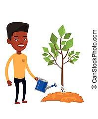 Man watering tree vector illustration.