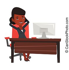 Business woman relaxing in office. - Satisfied businesswoman...