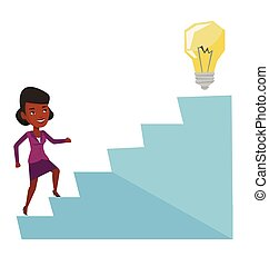 Business woman walking upstairs to the idea bulb....