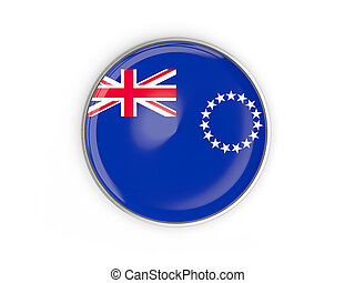 Flag of cook islands, round icon with metal frame isolated...