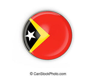 Flag of east timor, round icon with metal frame isolated on...