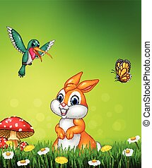 Cute bunny with beautiful green grass - Vector illustration...