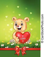 Cute bear holding red heart balloons on green grass