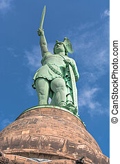 Hermann Monument in the Teutoburg Forest in Germany. -...