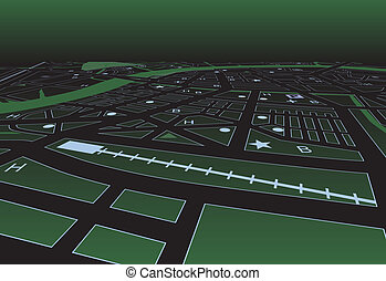 Green street map - Vector streetmap of a generic city at...
