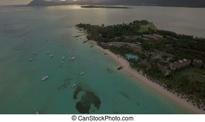 Aerial view of blue ocean and Mauritius Island - Aerial shot...