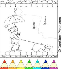 gnome walking with mole - coloring page, gnome walking with...