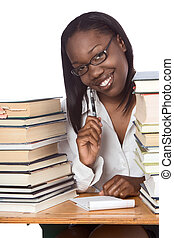 Adult education Afro American woman book studying -...