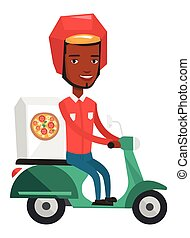 Courier delivering pizza on scooter.