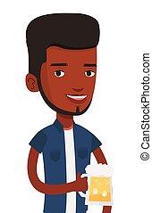 Man drinking beer vector illustration.