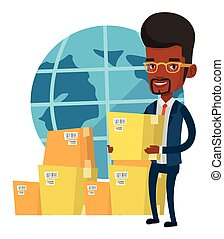 Business worker of international delivery service. - African...